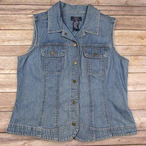 Crazy Horse Denim Jean Vest Medium Petite